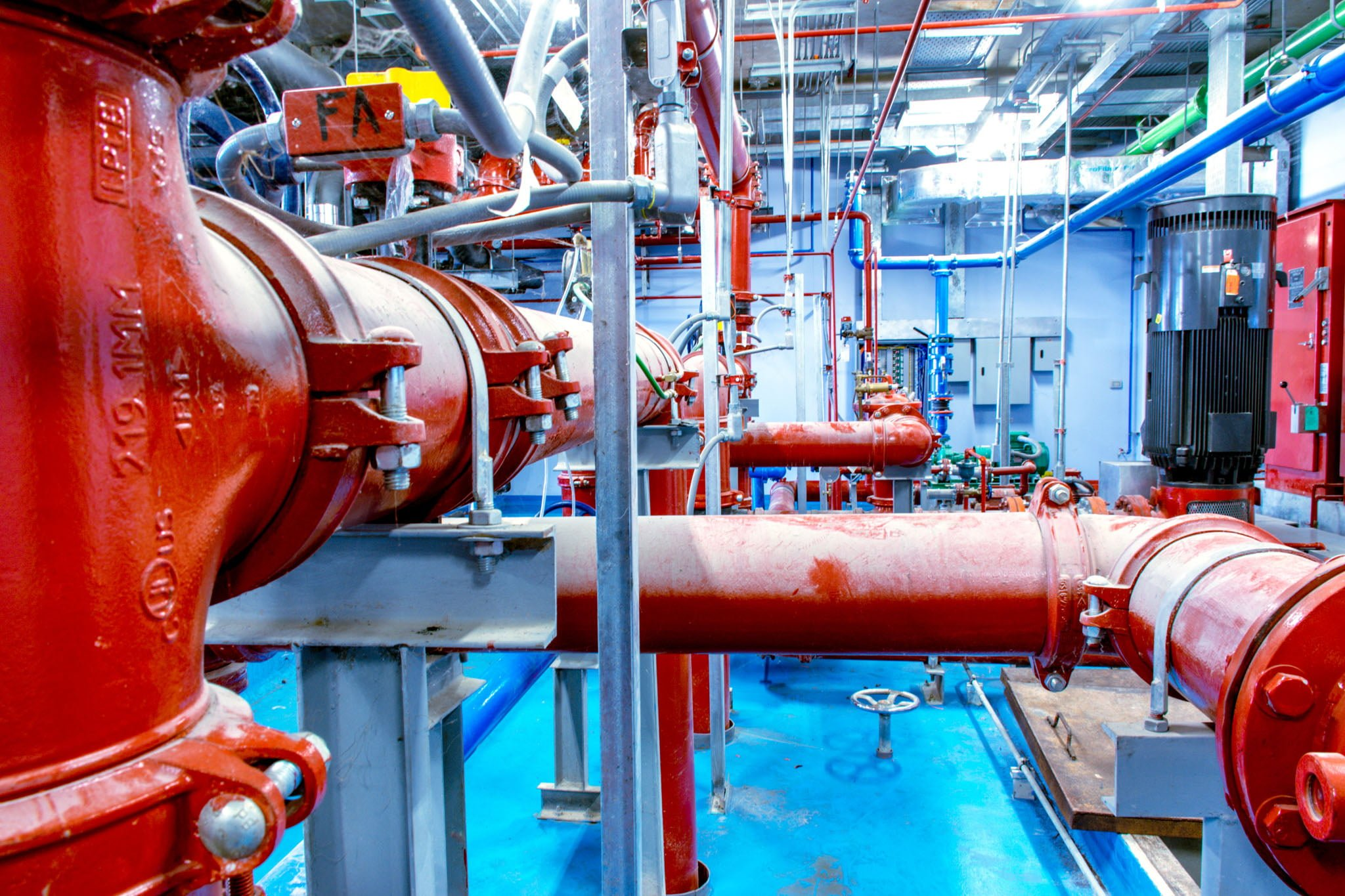Mechanical room illustrating Vibra-Sonic Control Vibration Isolation solution
